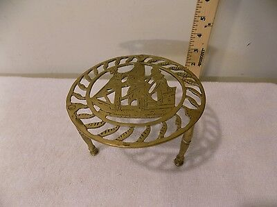 Antique Brass Fireplace Hearth Pot Kettle Trivet Stand, Nautical Sailing Ship