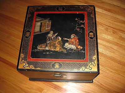 "Asian Motif Storage Trunk 17 1/4 X 17 1/4"" Wood Covered In Pig Skin"