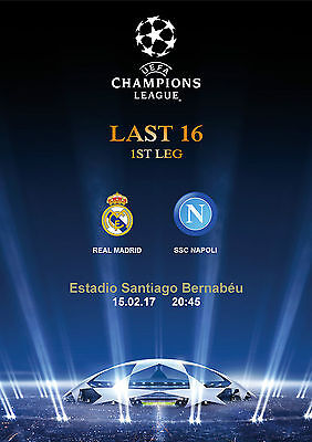 Programme Pirate Real Madrid Napoli Napoles Cl Uefa Champions 2016 2017