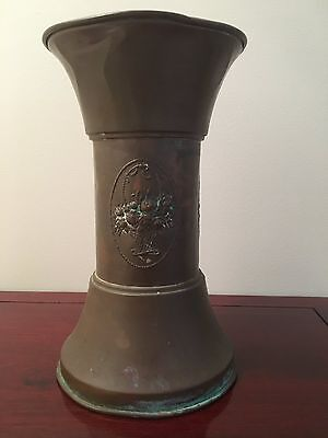 Vintage Large Halah Copper Vase Art Nouveau Design