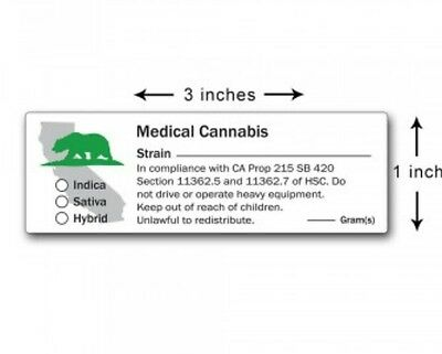 CA medical cannabis labels. Prop 215 sb420. 1x3 inch mmj packaging. Quanity 100.