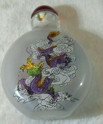 Chinese Reverse Painted Dragon Snuff Bottle Signed