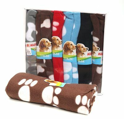 Pet Puppy Dog Cat Soft Blanket Paw Print Pig Fleece Small Large Warm Beds Mat