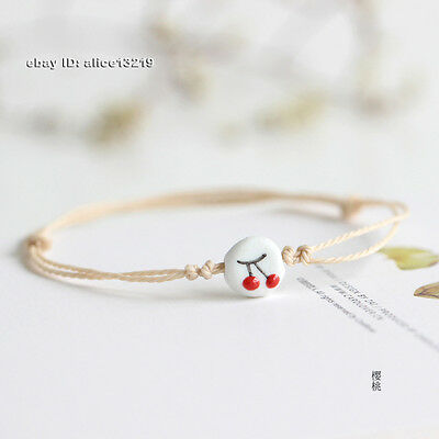 Chinese fresh jewelry creative hand-painted pottery porcelain cherry Bracelet 1P