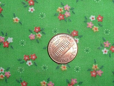 Vtg 70s Lime Green Tiny Daisys Calico Flower Power Doll Quilt Fabric 33x43#ff261