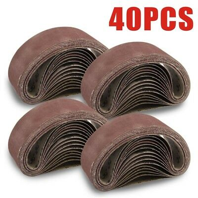 40 x Mixed 40 60 80 120 Grit Sander 75 x 533mm Sanding Belts Sanders Fine Coarse