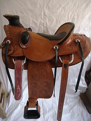 "New 16"" Leather Western Saddle Wade Roping Pleasure Ranch Saddle"
