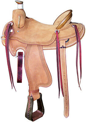 New Western Horse Barrel Saddle Racing Leather Pleasure Trail Show Roughout