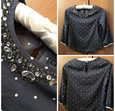 NEXT Girls Dotted Grey Blouse Shirt Top Party Occasion 10 Years