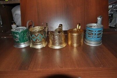 Сollection of 5 different Russian cup holders USSR.