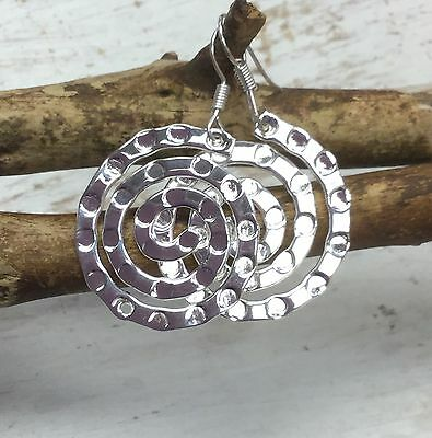 MEXICAN EARRINGS Sterling Silver Plated Handmade Swirl Round Design Fair Trade