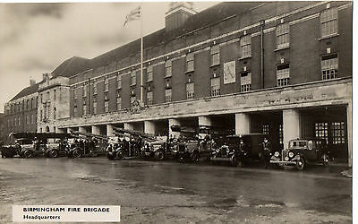 """Birmingham Fire Station,Fire Engines & Vintage Cars,"" 1950's Photograph P/Card"