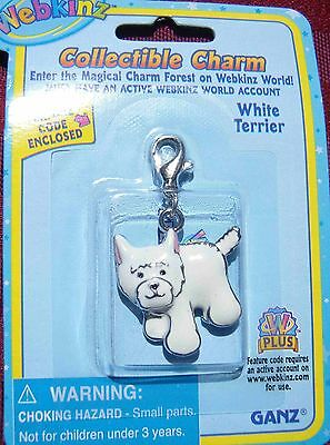 RARE WEBKINZ WHITE TERRIER CHARM  New in Package w/ Code