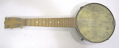 Vintage Early Gretsch Brand Four String Wood Ukulele N.M.S.  Co. With Folk Art