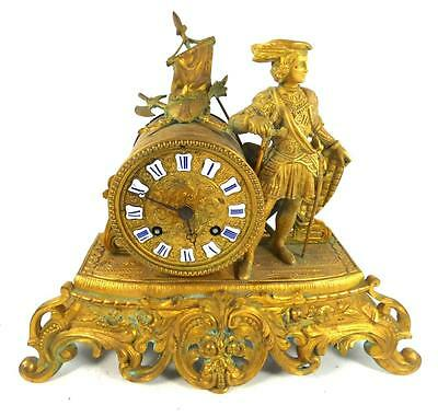 Antique Gilt Bronze Brass Clock Rococo 8 Day Japy Freres Movement