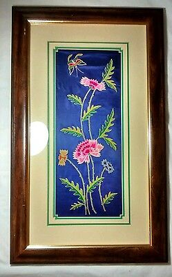 Antique Butterfly Floral Crewel Petit Point Embroidery On Silk Framed Textile