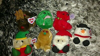 Puffkins Hoilday christmas lot retired     TY Beanie babies