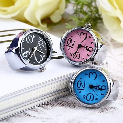 Round Creative Fashion Stainless Steel Elastic Finger Ring Watch Quartz
