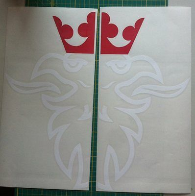 Half side window scania stickers set of twowhite body with red crown