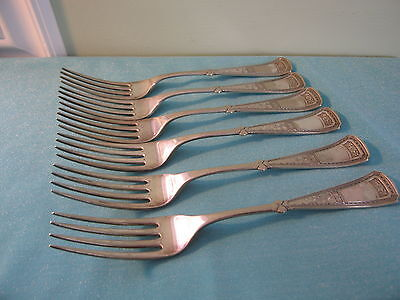 Lot of 6 SILVERPLATE 1880 COUNTESS Rogers DINNER FORKS Simpson Hall Miller Vtg