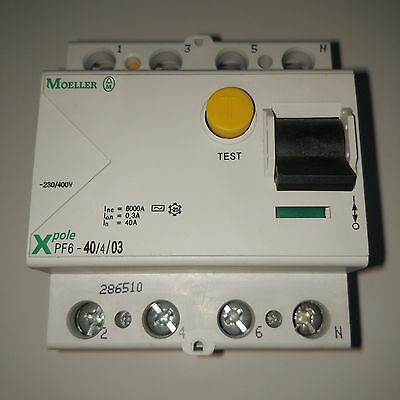 Moeller Residual Current Devices X pole PF6-40/4/03 A  40A 300mA 4-polig 286510