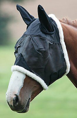 Shires Fly Mask Durable with Ears - Strong Turnout - Full Size - Black (6658)