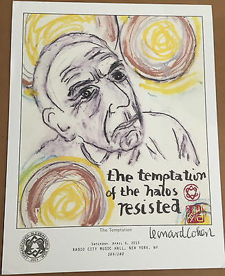 Leonard Cohen 2013 Old Ideas World Tour THE TEMPTATION Lithograph NEW