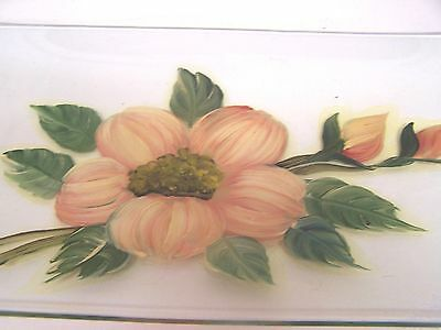 """Vintage CUTLER Long Clear Glass Tray with Large Flower Transfer - 11 3/4"""" long"""