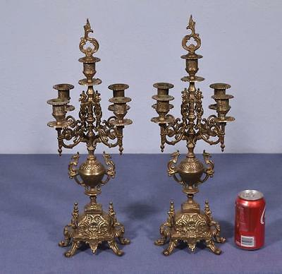 """*20"""" Tall Pair of Vintage French Bronze Candelabra Antique Candlesticks"""