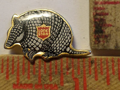 Vintage Unusual Lone Star beer Armadillo pin Texas collectible old pinback small
