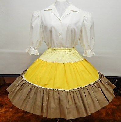 2 Piece White, Tan And Yellow Square Dance Outfit