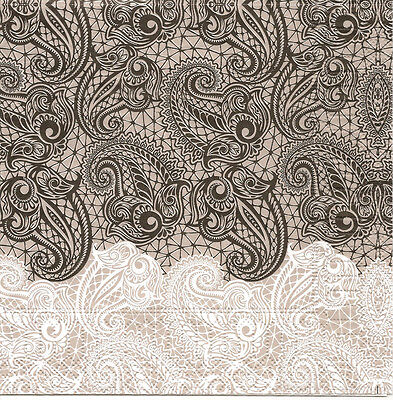 4 Single Paper Table Napkins for Decoupage Lace White Black