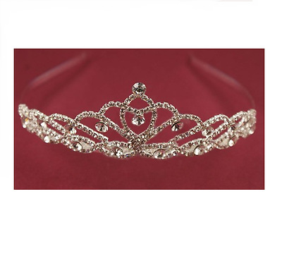 Silver Holy Communion Tiara with Pretty Clear Crystal Stones