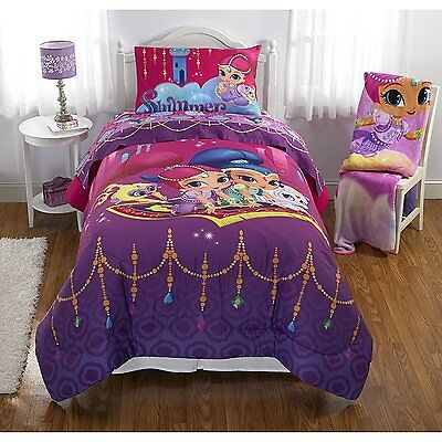 5pc FULL Shimmer and Shine REVERSIBLE COMFORTER & SHEETS BEDDING SET Double New