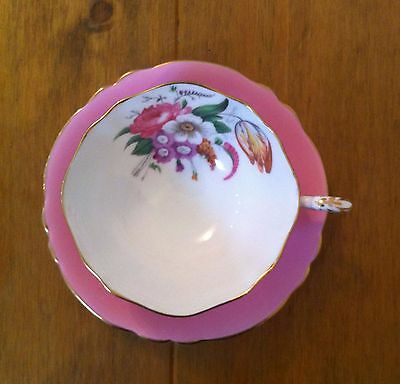 Vintage Paragon Cup & Saucer - Hot Pink - Rose and Tulip Floral Pattern