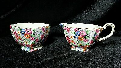 Vintage Lord Nelson Ware Chintz Creamer Sugar Marina Pattern Made in England