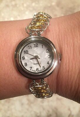 Chainmail Bracelet - Handmade Vertebrae Bracelet With Watch - Silver & Gold