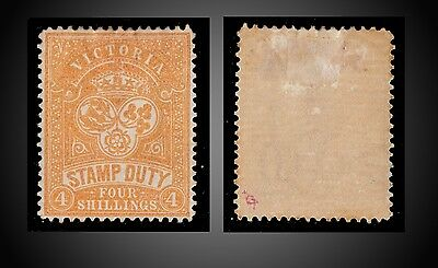 1884 VICTORIA POSTAL FISCAL STAMP DUTY - FOUR SH. ORANGE ST. AR16 SG. 238a