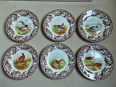 """Collection of 6 SPODE """"WOODLAND"""" 10 1/2"""" (27 cms) Plates."""