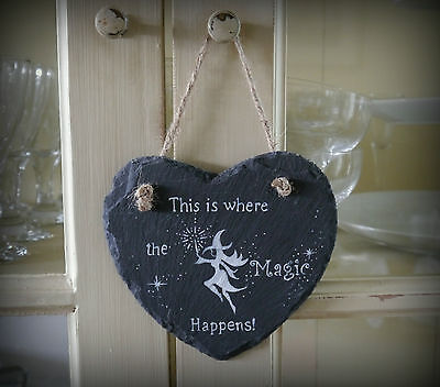 Witches Slate Heart Hanging Sign  Witch Pagan Wiccan Gift Home Magic Happens!