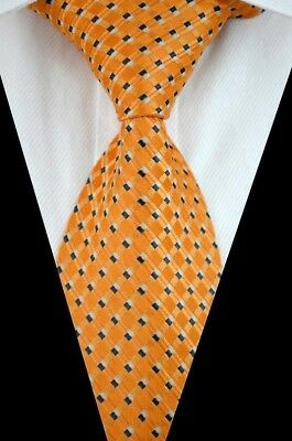 GIFTS FOR MEN Classic Mens Diamond Check Silk Checked Necktie Tie Yellow Gold