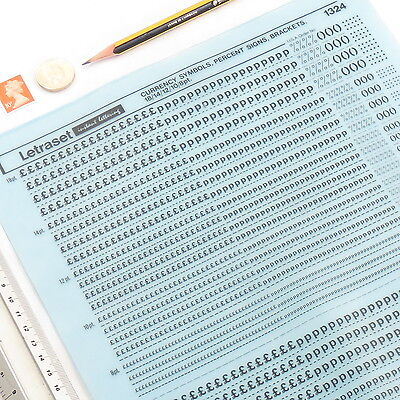 Letraset CURRENCY PERCENT BRACKETS 1324 18/14/12/8pt Rub On Dry Transfer Letters