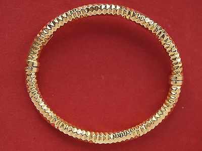 18ct Yellow Gold Diamond Cut Hinged Bangle Bracelet