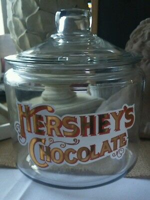 Vintage Hershey's Chocolate Glass Display Cookie Candy Jar Gold Letters w/Red