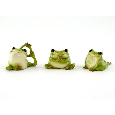 Miniature Dollhouse FAIRY GARDEN - Tiny Yoga Frogs - Set of 3 - Accessories