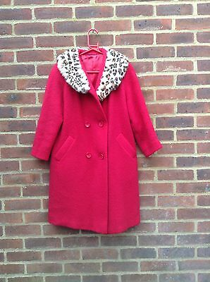 Vintage 50s 60s Red Wool Swing Coat Real Fur Collar On Trend M Rare