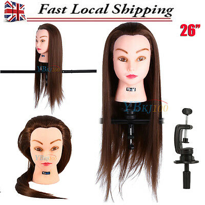 Salon Hairdressing Training Head with 30% Human Hair Mannequin Doll + Clamp 26""