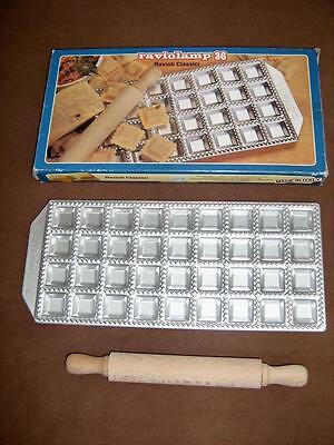 Ravioli mould kit stamp and rolling pin    36 holes   Imperia brand   Italian