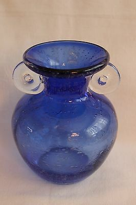 """AMICI Cobalt Blue Vase Clear Handles Controlled Bubble 5-1/2"""" Tall with Sticker"""
