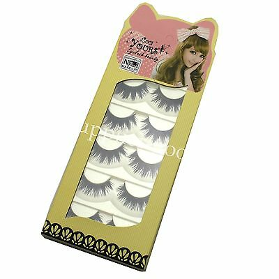 Soft 5 Pairs Natural Long Thick Eye Lashes Makeup Cross False Eyelashes